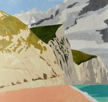 "Jurassic Coast, reduction woodcut, 29"" x 27"", 2017"