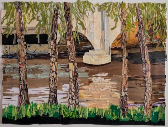 "Schuylkill Banks Bridge #1, print collage, 22"" x 30"", 2018"
