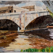 "Schuylkill Banks Bridge #2, print collage, 22"" x 30"", 2018"