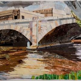 "Schuylkill Banks Bridge #2, print collage, 22"" x 30"", 2018"