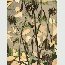 "Echinacea Cones, reduction woodcut, Sekishu mounted on Rives BFK, 24"" x 6"", 2019"