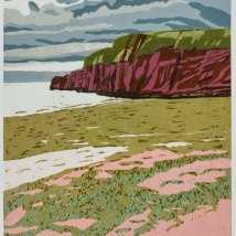 "South West Coast Path: Day 1, reduction woodcut, Sekishu mounted on Folio paper, 24"" x 18"", paper 29.5"" x 22"""