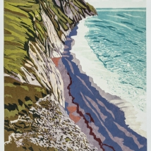 "South West Coast Path: Day 7, reduction woodcut, 24"" x 18"", paper 29.5"" x 22"", 2019"