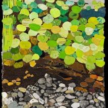 "Marsh #1, print collage, acrylic, 18"" x 12"", 2019"