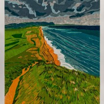 "South West Coast Path: Day 4, reduction woodcut, 24"" x 18"", 2019"