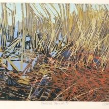 "Tinicum Marsh 1, reduction woodcut, 5.75"" x 8"", paper 10"" x 12"", 2020"
