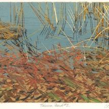 "Tinicum Marsh #2, reduction woodcut, 5.75"" x 8"", paper 10"" x 12"", 2020"