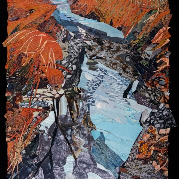 "Near Darby Creek, print collage, 41"" x 26"", 2020"