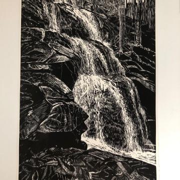"Shenandoah Falls, woodcut, 46"" x 29"", paper 28"" x 30.5"", 2020"