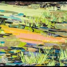 "Spring Wetland, print collage, 22"" x 30"", 2019"